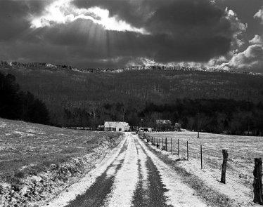 1-2003 Near Collbran Alabama H11 looking at Lookout Mountain-Pentax 6x7 camera-45mm lens-Ilford HP5+ 120 film-Kodak Xtol developer.