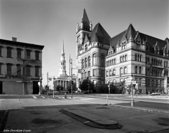 6-6-1982 City Hall Cincinnati Ohio-Linhof Technika IV 4x5 camera-90mm Schneider Super Angulon lens-G-filter-Ilford FP4 4x5 film-Kodak HC110B developer. My dad worked here as Director of Public Health Education for the city of Cincinnati when I was a young child.