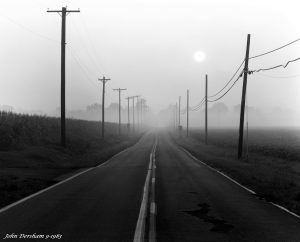 9-5-1983 Labor Day foggy sunrise-Near Newtown Pennsylvania-Bucks County- Cambo SC 4x5 view Camera-300mm Schneider Xenar lens-Ke filter-Ilford FP4 4x5 film-Kodak HC110B developer.