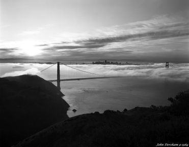 9-29-1984 Golden Gate at sunrise-San Francisco California-Linhof Technika V 4x5 camera-120mm Schneider Symmar s lens-G filter-Kodak Tri X Pan Pro 4x5 film-Kodak HC110B developer.
