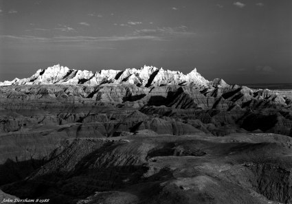 8-21-1988 Badlands at sunset South Dakota.-Linhof Technika V 4x5 camera-210mm Schneider Symmar S lens-K2 filter-Kodak T-max 100 4x5 film-Kodak HC110B developer.