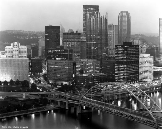 10-3-1983 Pittsburgh Pennsylvania-Cambo 4x5 view camera-300mm Schneider Xenar lens-Kodak Tri X Pan Pro 4x5 film-Kodak HC110B developer.
