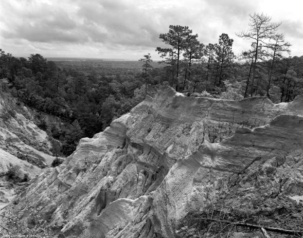 5-10-1987 Red Bluffs near Columbia Mississippi-Linhof Technika V 4x5 camera-210mm Schneider Symmar S lens-K2filter- Kodak Tmax 400 4x5 film-Kodak D76 developer.