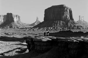 10-1993 Monument Valley with Native American models-Linhof Technika 4x5 camera-300mm Schenider Xenar lens-K2 filter-Kodak Tmax 100 4x5 film-Kodak Tmas RS developer.