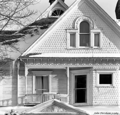 3-9-1984 Old Victorian house in Bloomsburg Pennsylvania-Cambo SC 4x5 view camera-300mm Schneider Xenar lens-Kodak Tri X Pan Pro 4x5 film-Kodak HC110B developer.