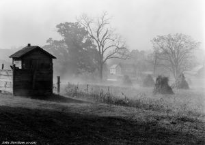 10-16-1983 Foggy outhouse farm scene-near Lewistown Pennsylvania-Cambo SC 4x5 view camera-300mm Schnieder Xenar lens- Kodak Tri X Pan Pro 4x5 film-Kodak HC110B developer.