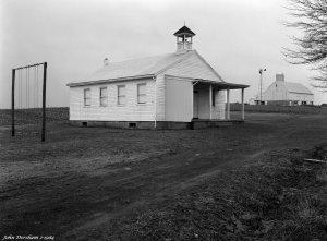 2-19-1984 Amish school and farm near Topsham Pennsylvania-Cambo 4x5 view camera -120 Schneider Symmer S lens-Kodak Tri X Pan Pro 4x5 film-Kodak HC110B developer.