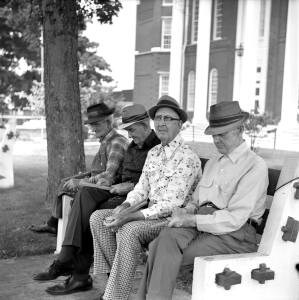 7-1976 The Whittlers-Lewisburg Tennessee Marshall County courthouse-Yashica 635 TLR camera-Kodak Plux X Pan Pro 120 film-Kodak D76 developer.