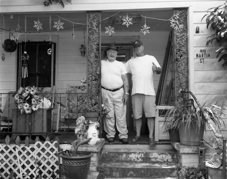 8-4-2015 Left, John Bartlet (81)and neighbor in Repton Alabama. Crown Graphic 4x5-135 Schneider Xenar lens-Ilford HP5+ 4x5 film-PMK Pyro developer.
