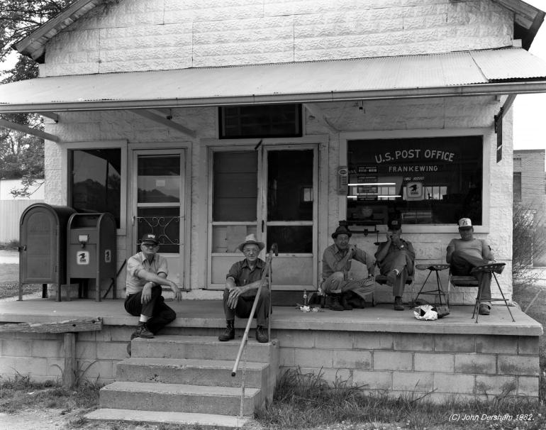 8-1982 Men at Frankewing Tennessee Post Office-Linhof Technika V 4x5- 90mm Schneider Super Angulon lens-Ilford FP4 4x5 film-Edwal FG7 developer.