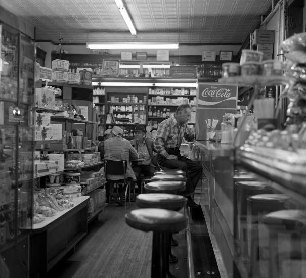 12-20-1978 Ledbetter Drug Store-Lawrenceburg Tennessee-Rolleiflex TLR camera-80mm Zeiss Tessar lens-Kodak Plus X Pan 120 film-Kodak D76 developer.