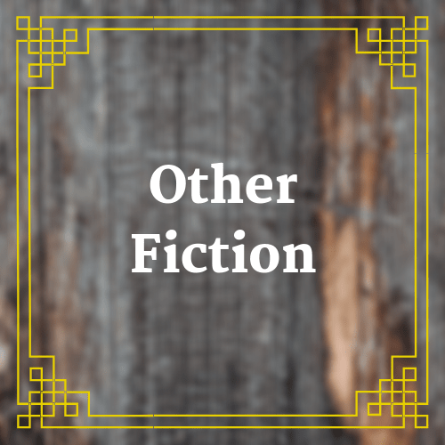 button with blurred rustic wooden table with text saying Other Fiction overlaid on it