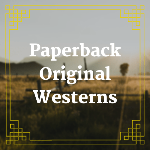 button with blurred landscape landscape with text saying paperback original westerns overlaid on it
