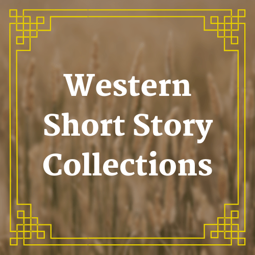 button with blurred field image with text saying western short story collections overlaid on it