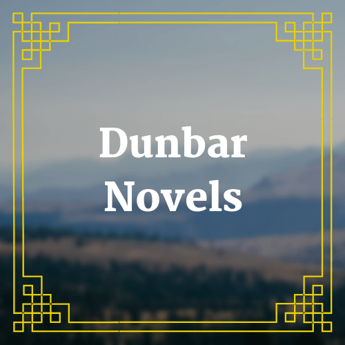 button with blurred landscape image and text saying Dunbar novels overlaid on it