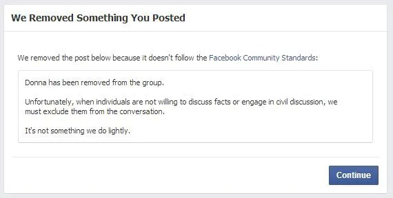 Facebook - Content Removed notice