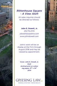 Rittenhouse Square - A View Aloft, Exhibition Postcard back, Philadelphia, by John Dowell artist photographer