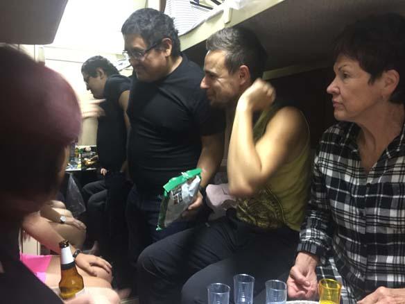 Socialising on board...