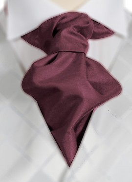 Dark Wine Ruche Tie (+ Handkerchief)