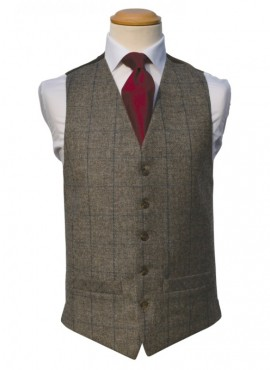Tweed Brown Royal Double Breasted Waistcoat