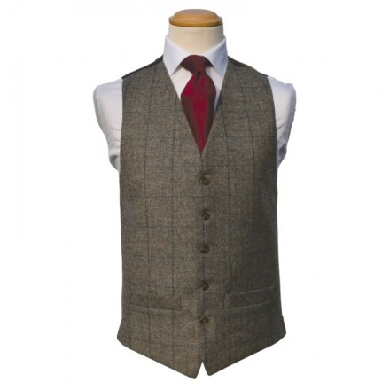 Tweed Brown Royal Double Breasted Waistcoat (Rental Package Only not for sale)