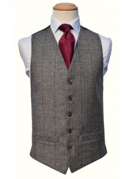 Tweed Grey Royal Double Breasted Waistcoat (Rental Package Only not for sale)
