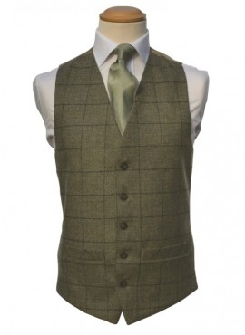 Tweed Olive Green Double Breasted Waistcoat (Rental Package Only not for sale)