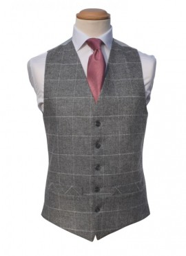 Tweed Sliver Ivory Double Breasted Waistcoat (Rental Package Only not for sale)