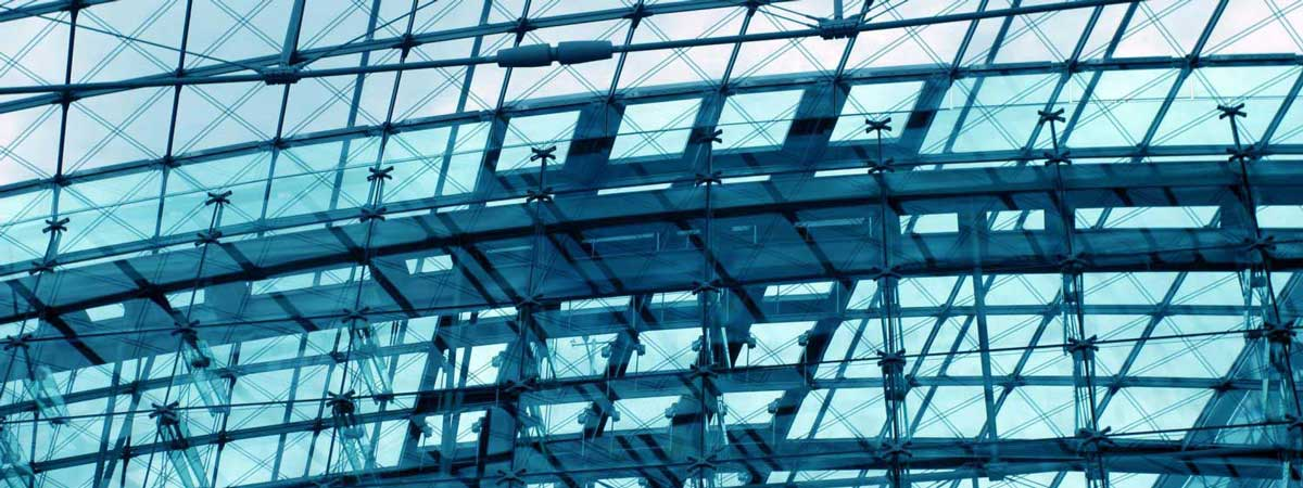 Clients and cases page: Glass roof with metal struts
