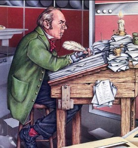 artwok by John Fraser of Bob Cratchit Surrounded by Computers, new technology, old technology, old fashioned writing technique, working by candlelight, Dickens character