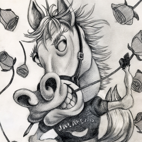 Pencil portrait of Portrait Of Jalepeno the Horse by John Fraser, pencil drawing, horse character, equine lothario, showhorse