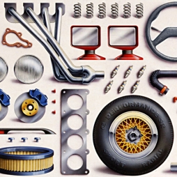 Advertising Illustration by John Fraser of automobile replacement parts for PetroCanada poster, car parts replacement parts, automobile, car repair,