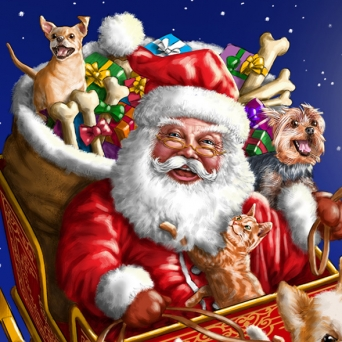 Advertising illustration by John Fraser for canine Christmas product for Dogstuff Depot, Santa Claus, flying dogs, Christmas dogs, bag of toys, toys for dogs, dog toys, dog treats