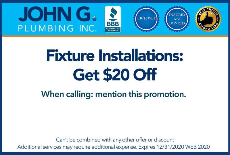 John G Plumbing Coupons 2018_Fixture Installation