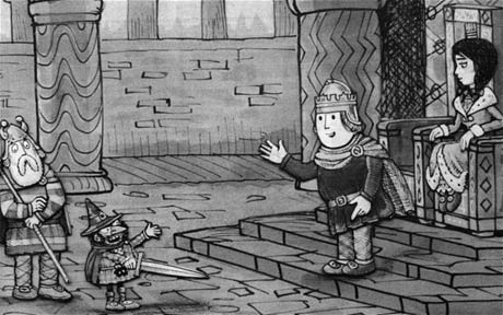 Illustration of Noggin and other characters from The Saga of Nogging the Nog. Artwork: Peter Firmin
