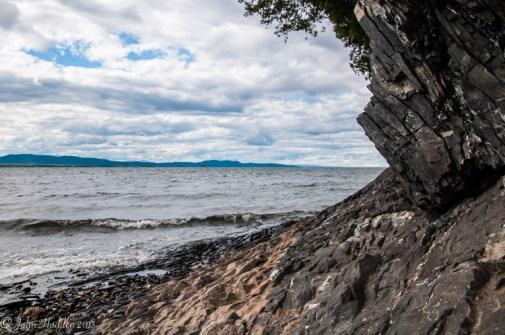 Along the shoreline of Lake Champlain at Shelburne Farms