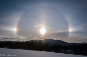 A 22-degree halo encircles the afternoon sun as viewed from Taft Road.