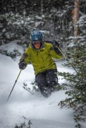 Your's truly carves through early season powder at Mad River Glen. Photo by Riley Hanlon.