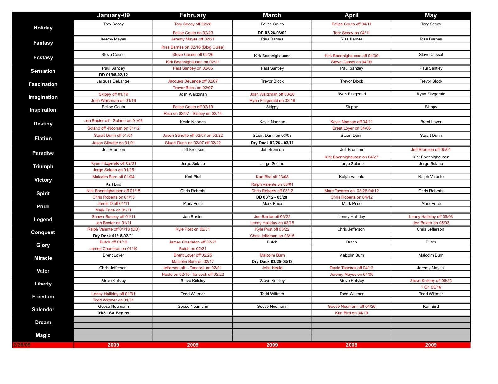 John Heald Cruise 2019 Director Schedule