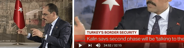 """Left, Kalin speaks of the Afrin-Tel Abiad zone, Min 24:35. Right: Kalin speaks of the """"rest"""", Min 24:52. Source: https://www.youtube.com/Erdogan's map, to which Kalin referred, was presented at the UN General Assembly on September 24. The full extent of the Turkish occupation zone is plain to see."""