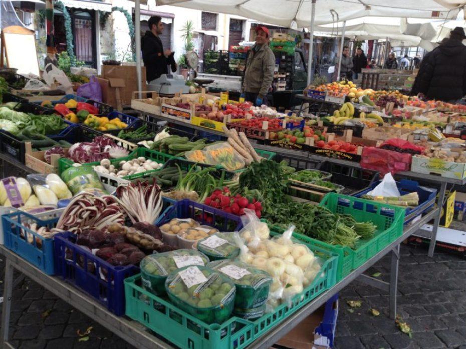 The Campo dei Fiori public market around the corner from my apartment.