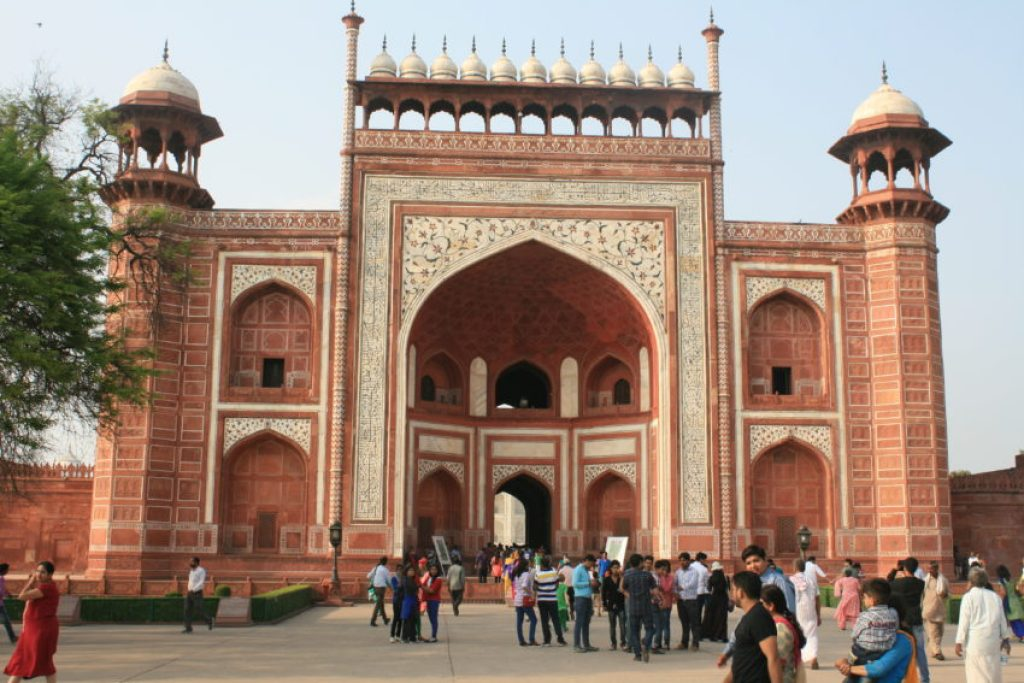 The red sandstone entrance to the Taj Mahal.