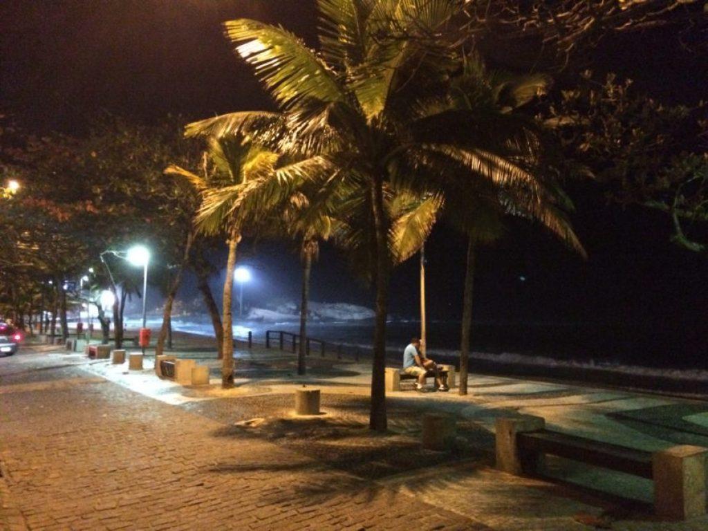 Ipanema Beach at night.