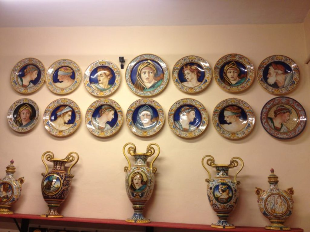 Plates and vases are all elaborately  hand painted individually.