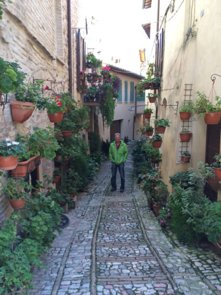 A typical residential road in Spello.