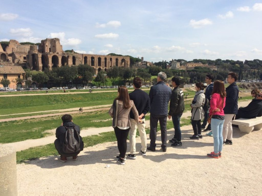 Rome gets 10-12 million tourists a year and many of them come here. Palatino Hill, where the Ancient Roman aristocracy once lived, including Emperor Augustus, is in the background