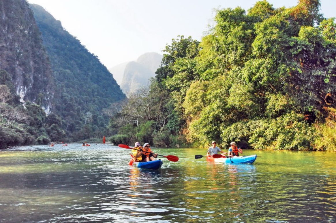 Kayaking has replaced tubing as the most popular activity on the Nam Song.