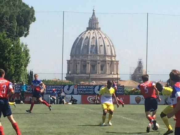 St. Peter's Basilica offered an appropriate backdrop for Saturday's final of the Clericus Cup, the Vatican soccer league made of priests and seminary students.