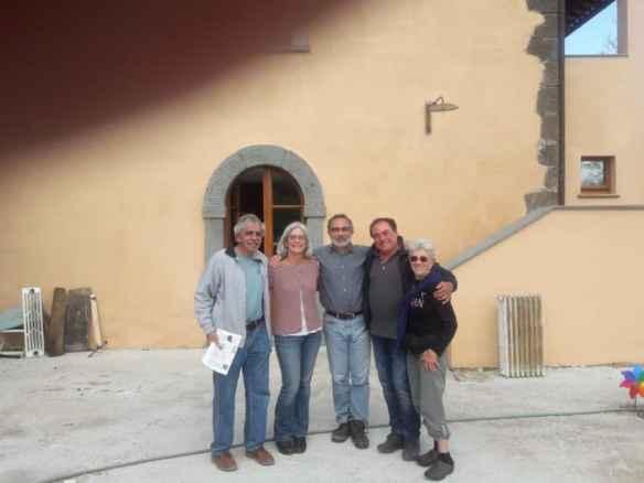 From left, Peter Bloom, Beth Blosser, builder Filippo Patacchini, Stefano Carta, Gretchen Bloom