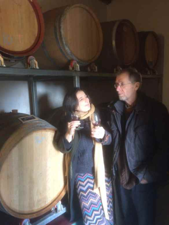 Claudia and Ev in their barrel room.
